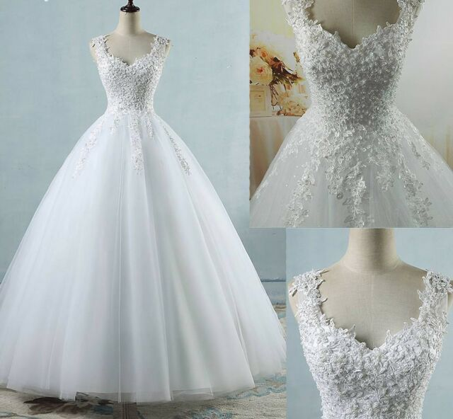 Bridal Wedding Dress Princess Style Floor Length Lace up Back Pearl ...