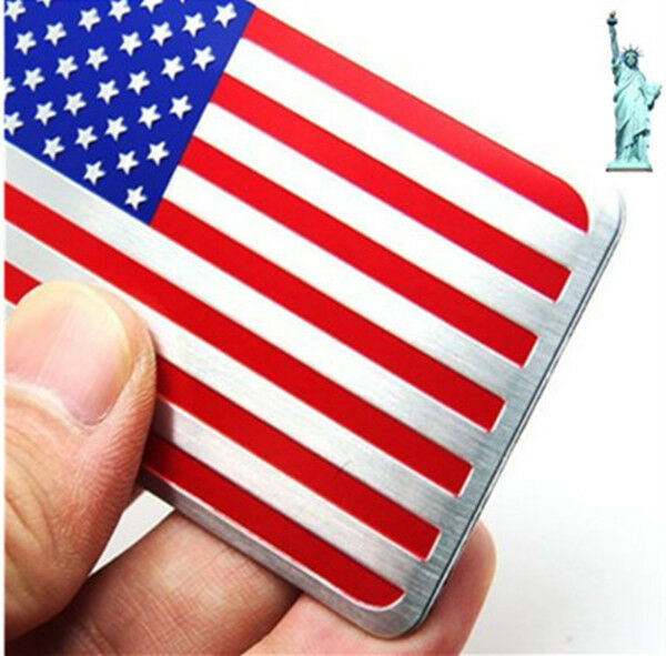 Us usa flag america aluminum sticker emblem badge decal auto car 3d logo ebay