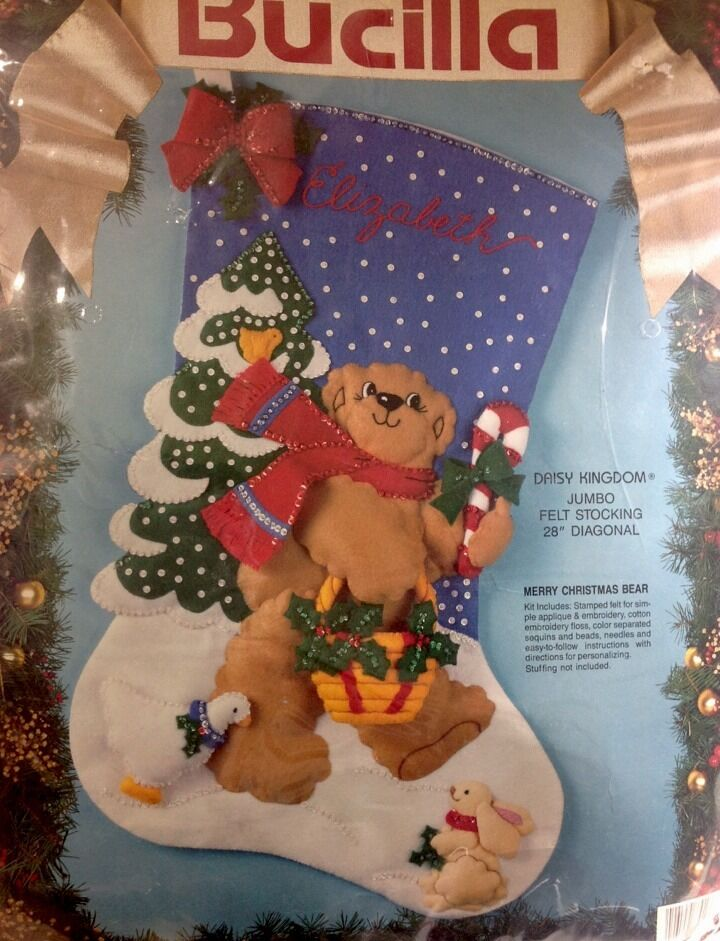Bucilla Jumbo Felt Stocking Kit Merry Christmas Bear 83018 | eBay