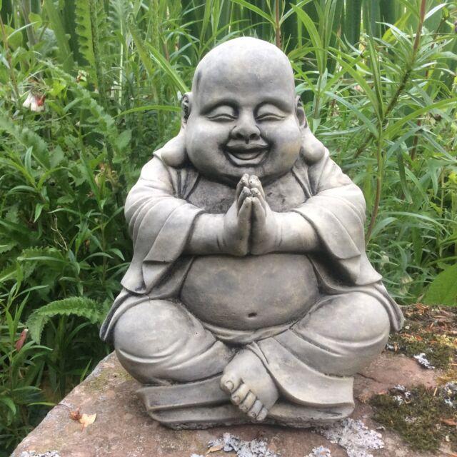 Stone garden happy buddha buddah statue ornament ebay stone garden happy praying buddha buddah statue ornament workwithnaturefo