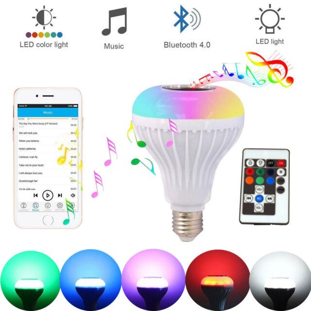 LED Wireless Bluetooth Bulb Light Speaker 12W RGB Smart Music Play Lamp +  Remote