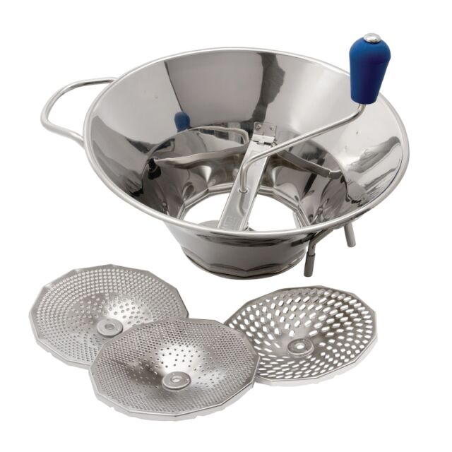 Tellier Stainless Steel Moulin 310mm Masher Ricer Grater 3 sizes of sieve