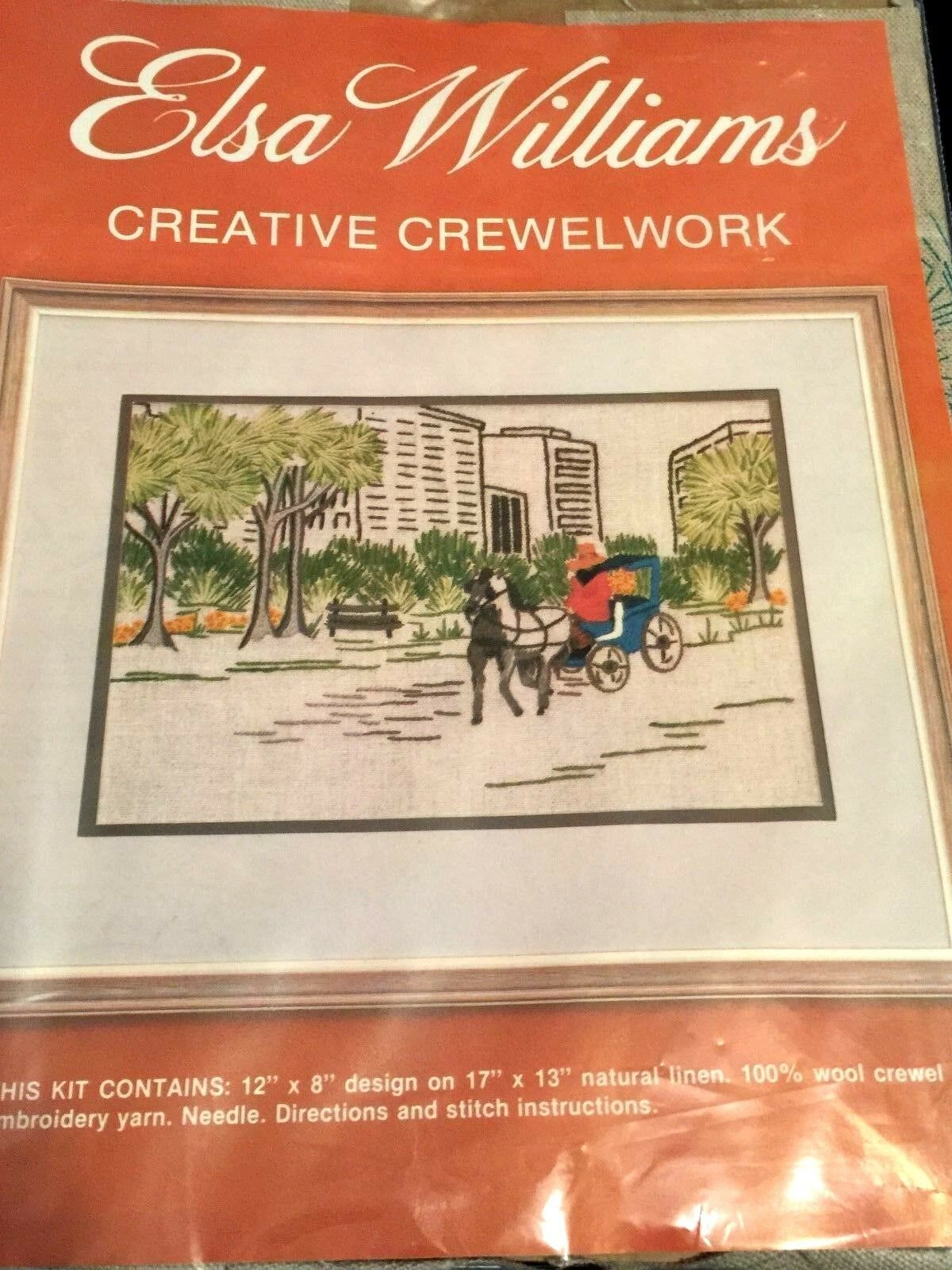 Vintage Elsa Williams Crewel Embroidery Kit Linen Central Park City