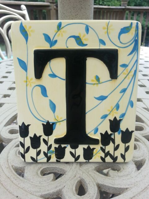 Letter T Wall Decor Tile Plaque Personalized Art 5x6 by Creative Co ...