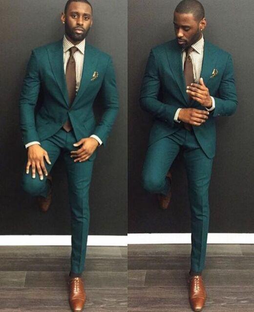 Custom Made Dark Green Men Wedding Suits Formal Groom Tuxedos Prom ...