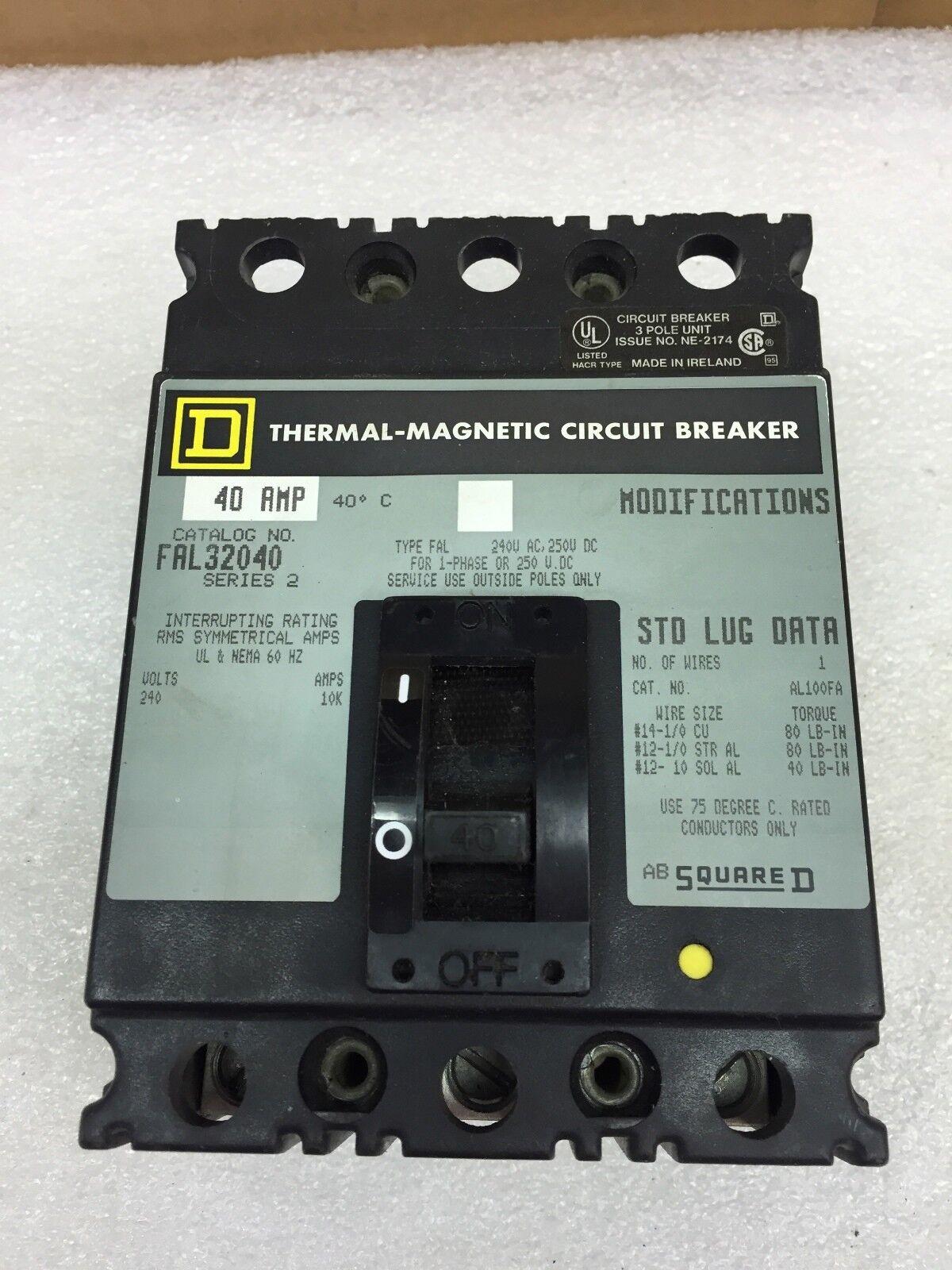Square D FAL32040 3 Pole 40 Amp 240 V FAL Circuit Breaker *damaged ...