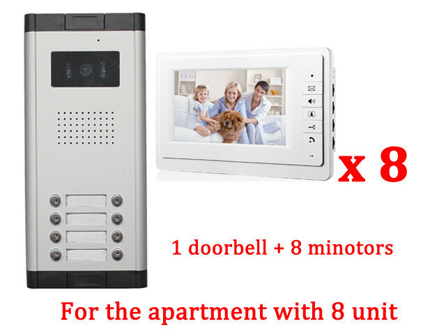 Apartment 8 Unit Intercom Entry System Wired Video Door Phone Audio
