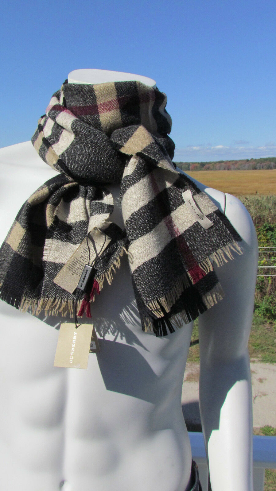 eb21c215e886 ... spain new burberry scarf 450 men italy wool reversible classic check  camel black bag 1925a 4c64f