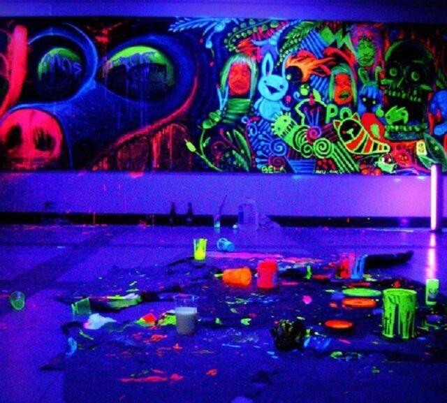 8pcs Neon Nights UltraViolet UV Black Light Fluorescent Glow Luminous Wall Paint eBay