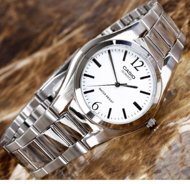 Casio MTP-1253D-7A Men's White Analog Watch Steel Band 30M WR New