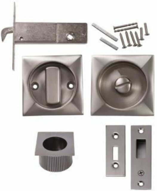 Square Bathroom Sliding Door Hook Lock Satin Steel Privacy WC 2 ...