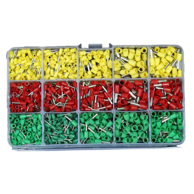 990pcs 5 Sizes Pre-insulated Crimping Wire Ferrules Terminals ...