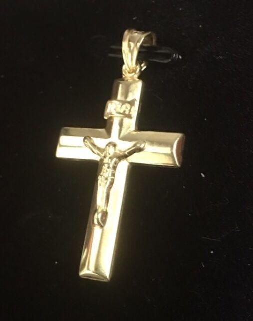 Cross crucifix pendant 14k yellow gold jesus charm ebay jesus christ crucifix cross 14k yellow gold layer on 925 silver pendant charm audiocablefo