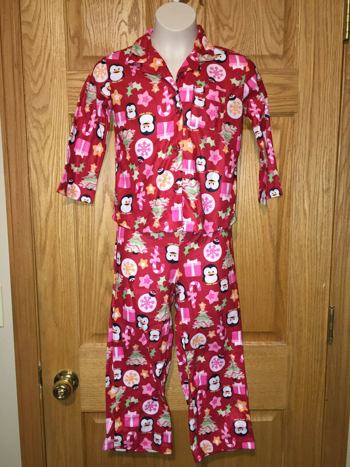 Joe Boxer Girls 2 Piece Christmas Pajamas XS (4/5) Red & Pink ...