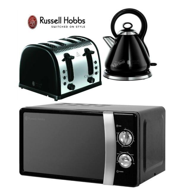 Russell Hobbs Microwave Kettle and Toaster Set Black Kettle & 4 Slice Toaster