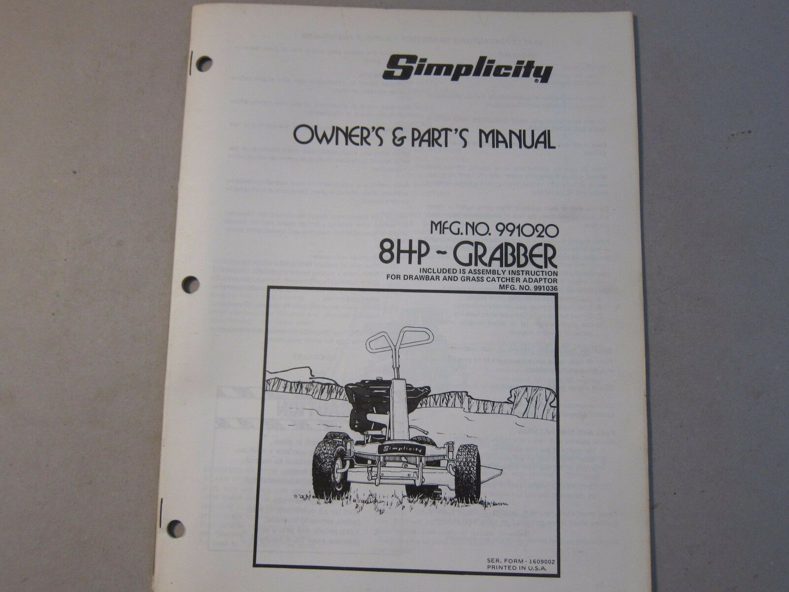 Oem simplicity grabber 8 hp 991020 owners manual parts list more oem simplicity grabber 8 hp 991020 owners manual parts list more listed ebay publicscrutiny Gallery