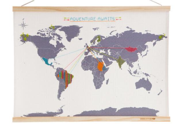 Cross Stitch Map Suck UK Weltkarte Stickvorlage Reisebild DIY sticken Welt Reise