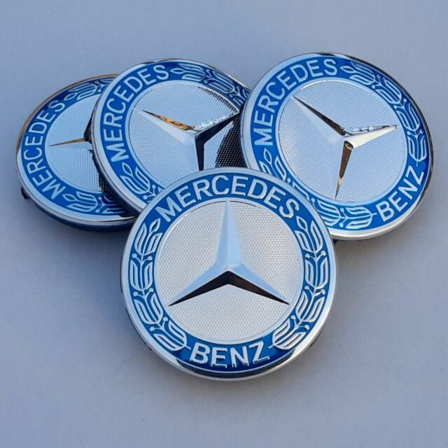 4 x genuine original mercedes benz 75mm chrome alloy wheel for Mercedes benz wheel cap emblem
