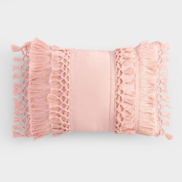 Merveilleux Blush Fringe Indoor Outdoor Patio Lumbar Pillow: Pink By World Market