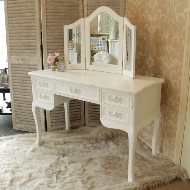 White Wooden Dressing Table Desk Triple Mirror Home Vintage Style Furniture