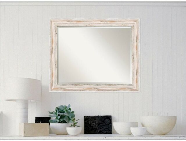 Amanti Art Wall Framed Mirror White Wash Wood 33 X 27 In Distressed Home Decor
