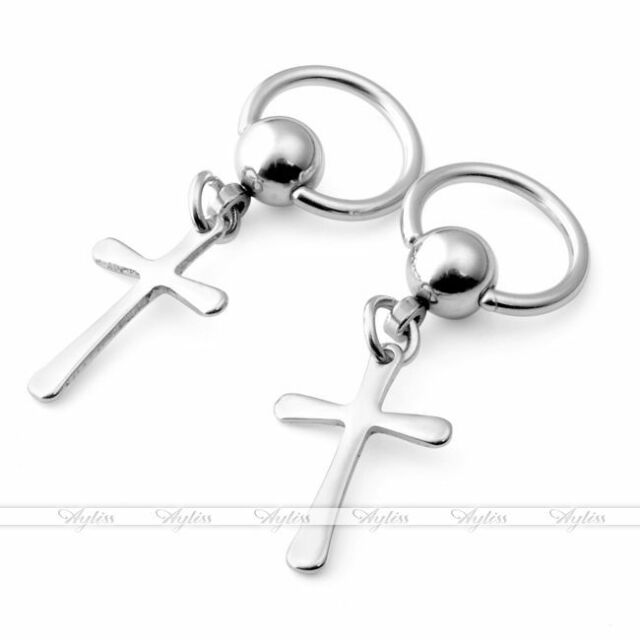 16G Silver Steel Cpative Cross Hoop Dangle Stud Piercing Earring/Nose/Lip/Labret