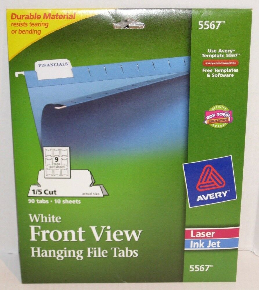 Avery White Front View Hanging File Tabs 5567 Ebay