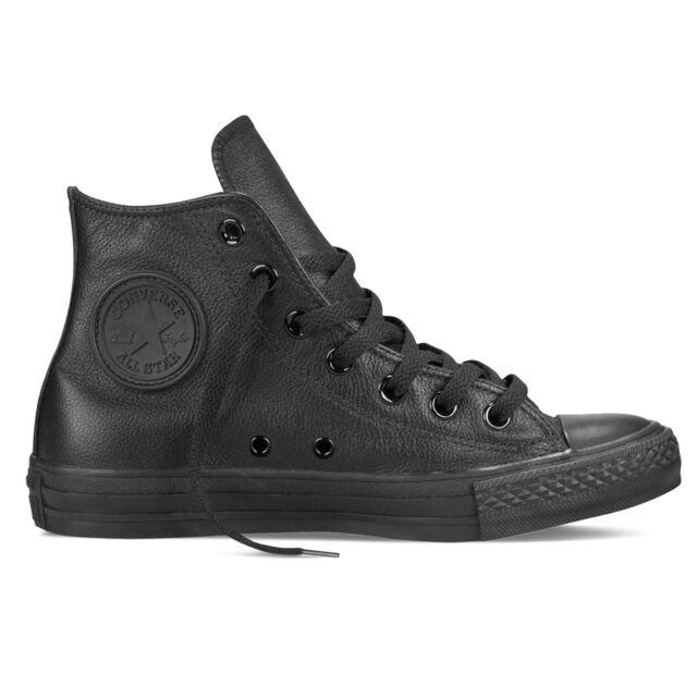Converse Chuck Taylor MONO LEATHER ALL BLACK ALL STAR HI scarpe nero mono led