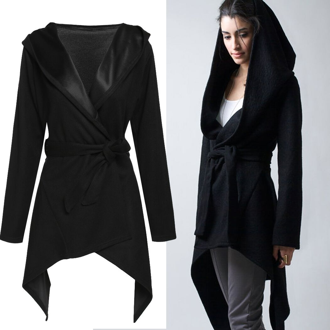 Fashion Women Casual Hooded Cardigan Jacket Belted Asymmetrical ...