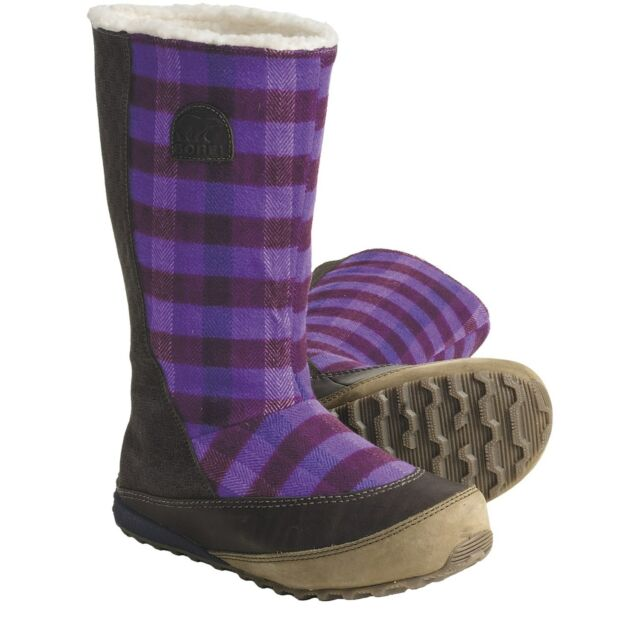 NIB Womens Sorel MacKenzie Slip Holiday Tall Fleece-Lined Royal Purple Boots  6.5