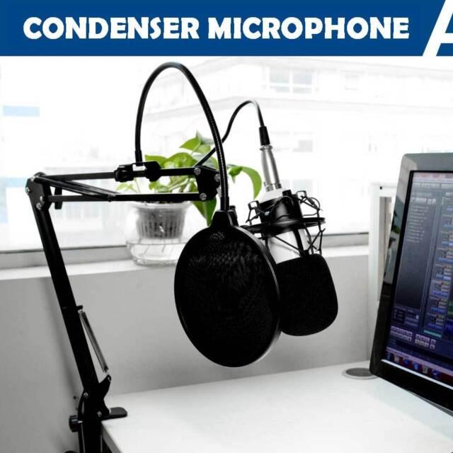 Pro Studio Condenser Microphone Recording Suspension Boom Scissor Arm Stand Kit