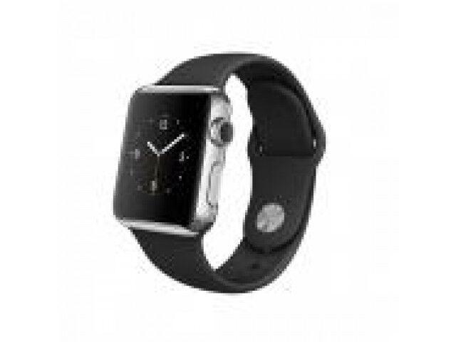 Apple Watch [inkl. Sportarmband schwarz] 42mm Edelstahlgehäuse silber - GUT