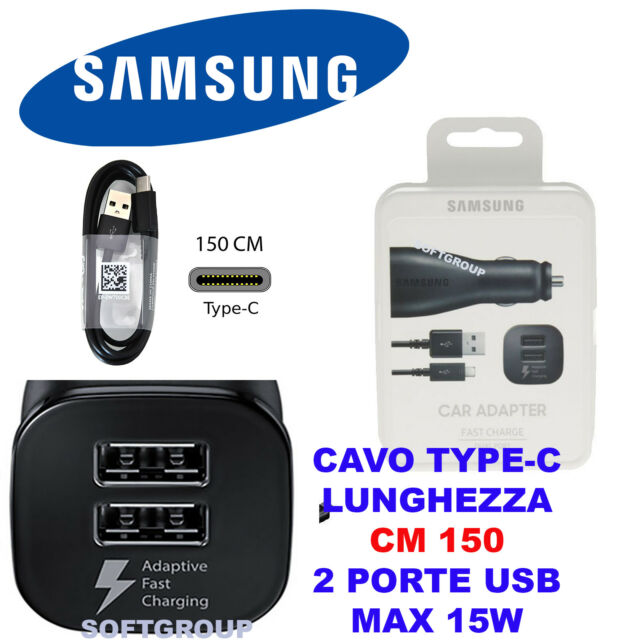 CARICABATTERIA AUTO RAPIDO FAST ORIGINALE 2 USBper SAMSUNG GALAXY S8 NOTE8 TABS3