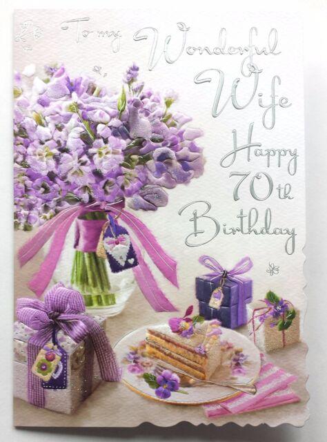 to My Wonderful Wife Happy 70th Birthday Lovely 70 Birthday Card – Happy 70th Birthday Cards