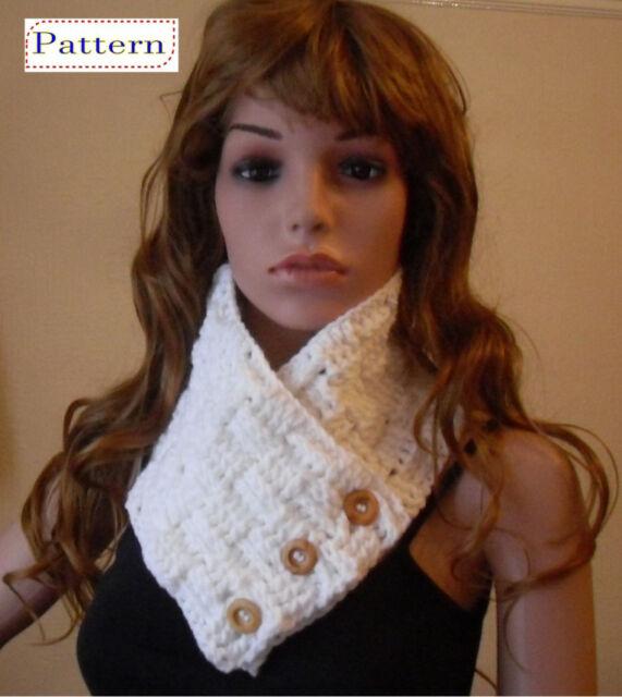 Crochet Pattern For Scarf Ladies Basketweave Neckwarmer By Peach
