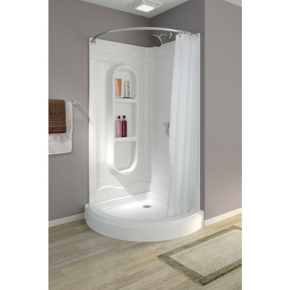 small corner shower kit. Stall Shower Curtain Corner Walk In Unit Kit Portable Rod One Piece Curved  Small eBay