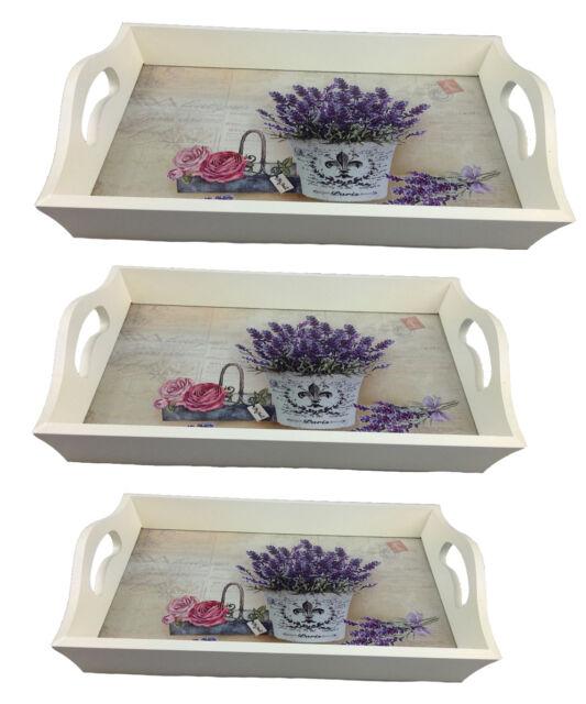 Tablett Serviertablett Lavendel LN474 Kellnertablett Holz Servierplatte Landhaus