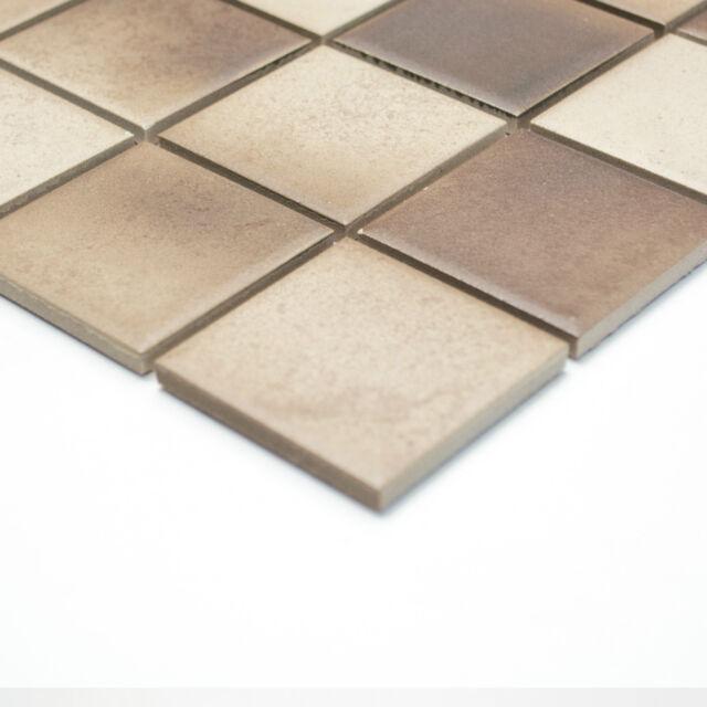 Fliesen Mosaik Mosaikfliese Keramik Quadrat mix beige braun 6mm Neu R10C #259