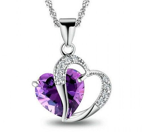 925 sterling silver necklace amethyst crystal heart purple pendant 925 sterling silver necklace amethyst crystal heart purple pendant for women ebay aloadofball Gallery