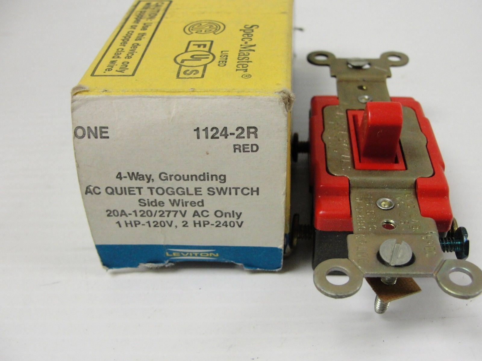 Leviton Red Industrial Toggle Wall Light Switch 4way 20a 120 277v