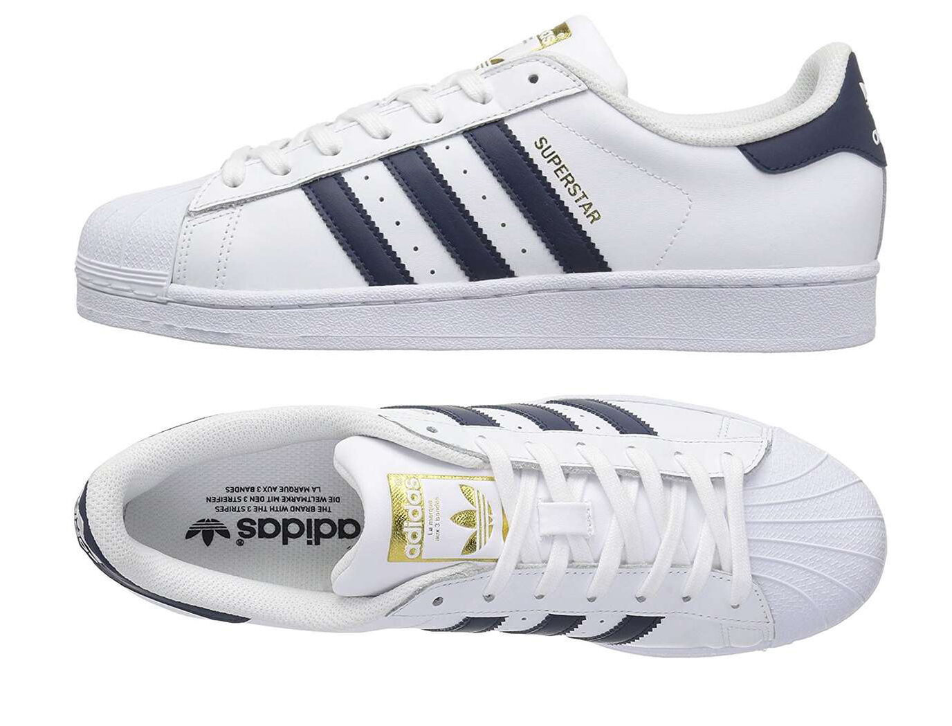 buy popular f249c 4a529 adidas Super Foundation Big Kids S81014 White Navy Gold Shoes Youth Size 5    eBay