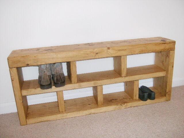 shoe rack hall bench storage seat handmade solid chunky rustic pine