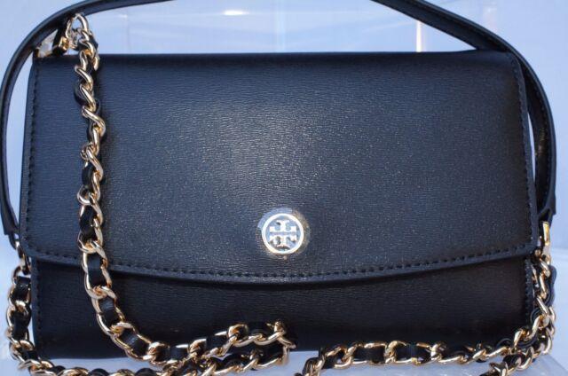 New Tory Burch Parker Chain Wallet Crossbody Black Bag Leather Handbag