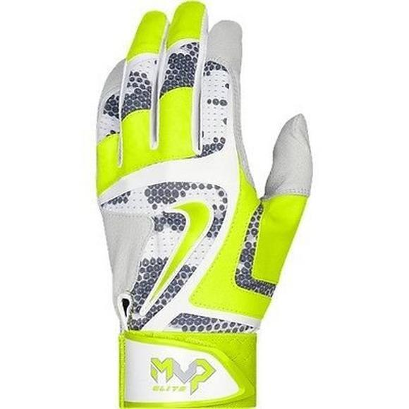 Nike MVP Elite Adult Baseball Batting Glove Gb0401-106 Grey / Volt Sz  Medium | eBay