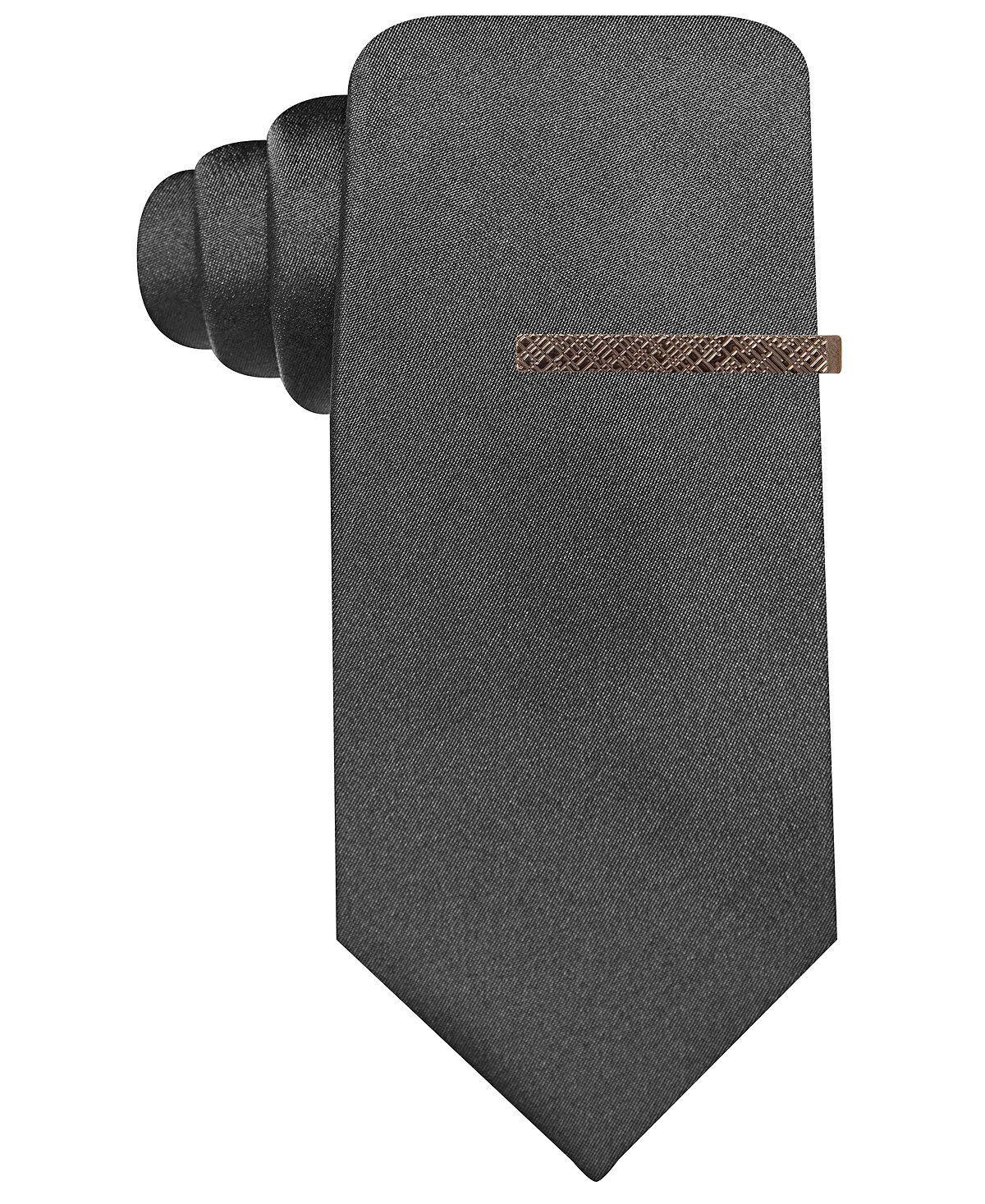 ryan seacrest mens silk solid black neck tie classic skinny necktie