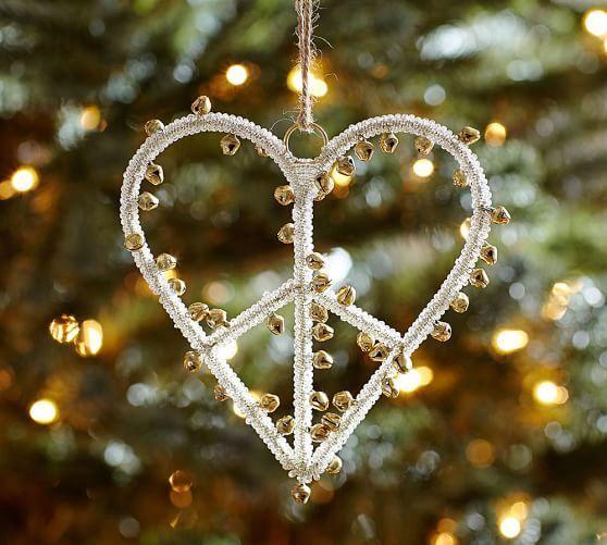 Pottery Barn Jingle Bell Heart Peace Sign Christmas Ornament Ebay