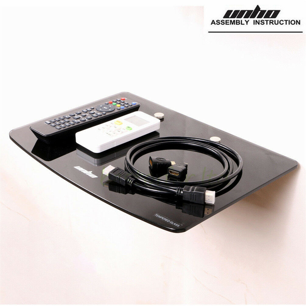 Unho floating wall mount tempered glass shelf for dvd player game picture 1 of 7 amipublicfo Images