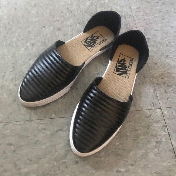 black leather slip on vans women