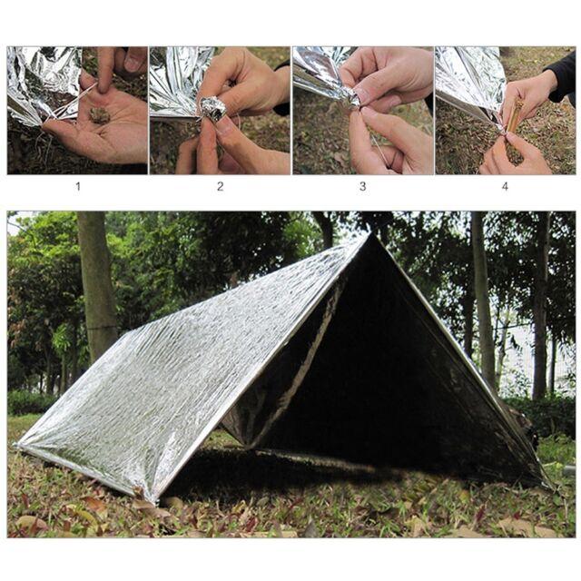 Outdoor Emergency Tent Blanket Sleeping Bag Survival Reflective Shelter C&ing  sc 1 st  eBay & Outdoor Emergency Tent Blanket Sleeping Bag Survival Reflective ...