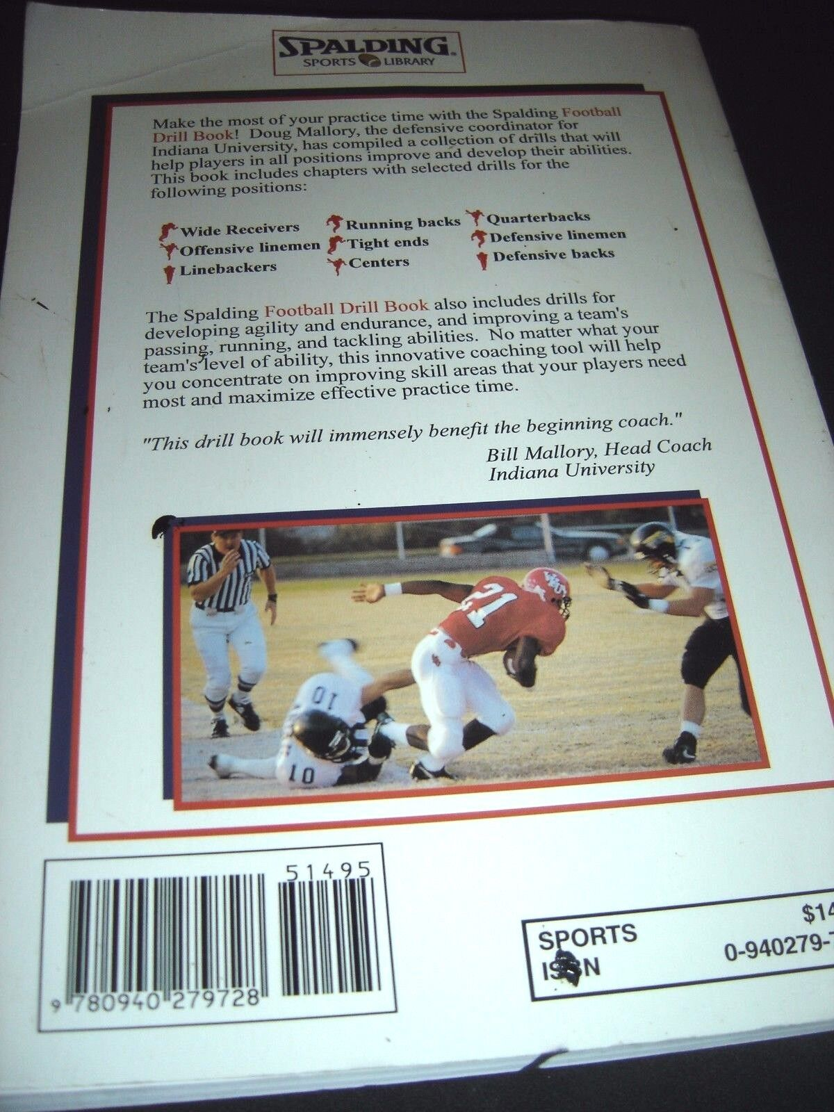 Football Drill Book by Doug Mallory (1998, Paperback) | eBay